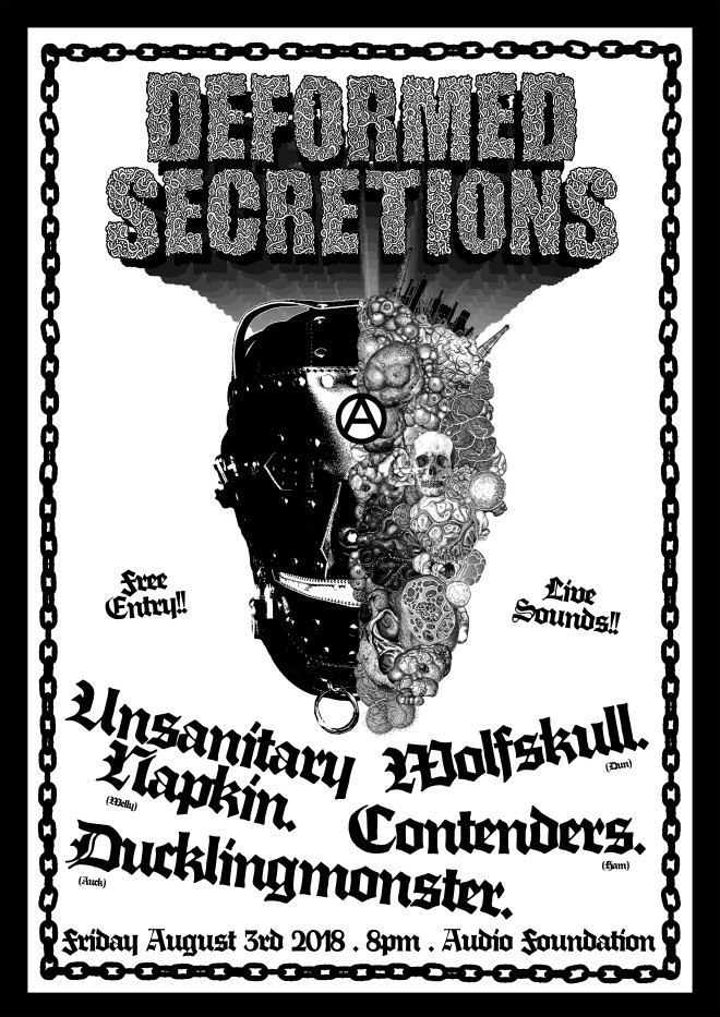 Deformed Secretions Poster August 2018 Friday 3rd show