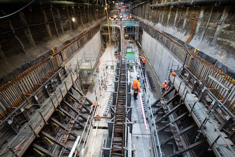 City Rail Link tunnel construction progress for the Big Projects series. Auckland. 6 March 2019 New Zealand Herald Photograph by Jason Oxenham